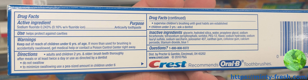 crest baking soda peroxide whitening fresh mint ingredients